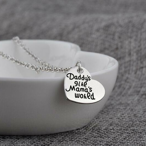 Daddy's Girl Mama's World Pendant Necklace