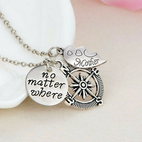 "Mother & Daughter ""No Matter Where"" Necklace Set"