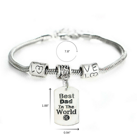 """Best Dad in the World"" Charm Bracelet"
