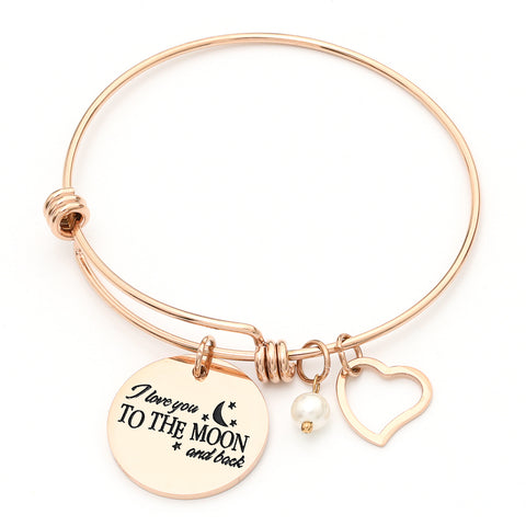 I Love You to The Moon & Back - Adjustable Bangle Bracelet - Rose Gold Color