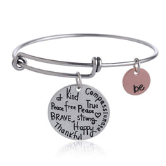 "Luvalti Expandable Inspirational Jewelry Women Charm Stackable Bracelet, ""Be Thankful, Brave, Happy, Kind, True, Compassionate, Strong"", Gift Girls Her"
