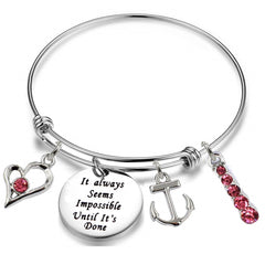 It always Seems Impossible Until It's Done - Stainless Steel Inspirational Bangle Bracelet Jewelry