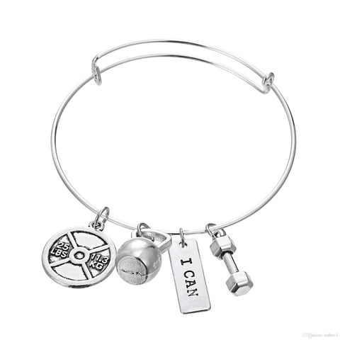 I Can Bangle Pendant Bracelet - Best Motivational Gift - Weight Plate Barbell Dumbbell Pendant Bracelet