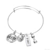 Image of I Can Bangle Pendant Bracelet - Best Motivational Gift - Weight Plate Barbell Dumbbell Pendant Bracelet