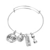 Image of Strong is Beautiful Bangle Pendant Bracelet - Motivational Fitness Jewelry
