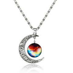Galaxy & Crescent Cosmic Colorful Moon Pendant Necklace