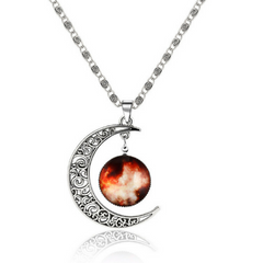 Galaxy & Crescent Cosmic Orange Moon Pendant Necklace