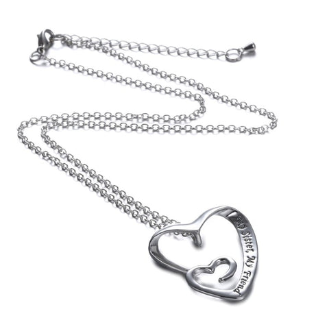 My Sister, My Friend - Heart Pendant Necklace