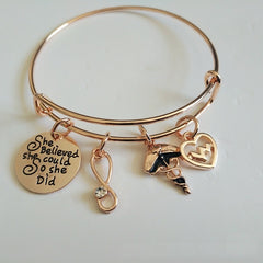 She Believed she Could so she did - Inspirational Bangle Bracelet Jewelry - Rose Gold Color