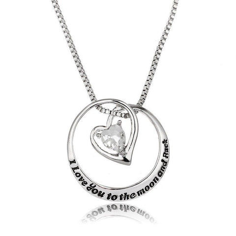 I love you to the moon and back Romantic Jewelry- Heart Pendant Necklace - Jewelry Gift for Loved Ones