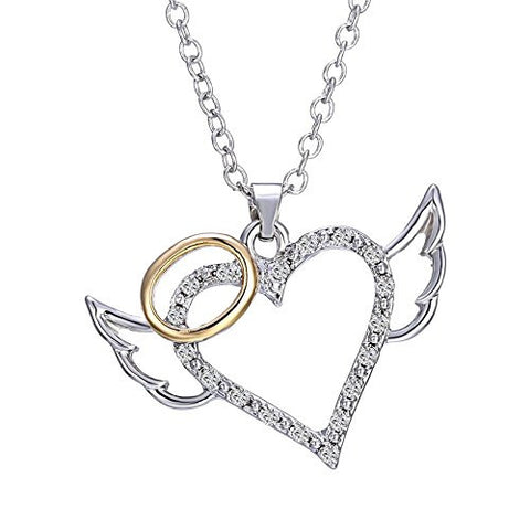Angel Heart Pendant Necklace Angel wings