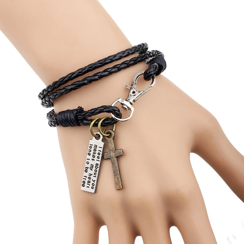 "Luvalti ""I feel about you - makes my heart lone to be free"" Cross Bracelet Christian Jewelry"