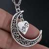 Image of Crescent Moon and Paws Pendant Necklace Paw Print Jewelry