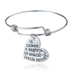 It takes a big heart to teach little minds - Bangle Bracelet - Mentor Teacher Gift Idea
