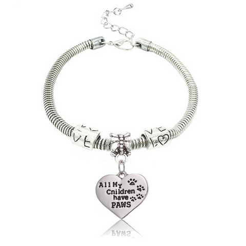 """All My Children Have Paws"" Pendant Bracelet Paw Print Jewelry"
