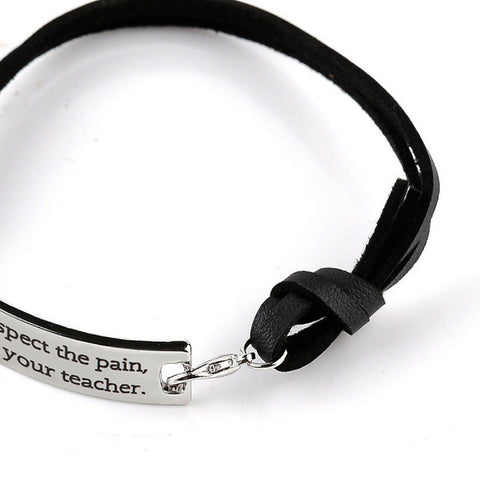 Respect the pain, it's your teacher Motivational Pendant Bracelet