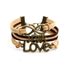 Jesus Love Infinity Leather Bracelet - Christian Jewelry for Men and Women