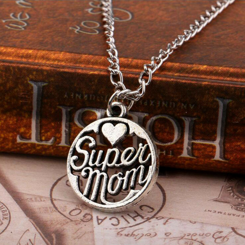 Super Mom Pendant Charm Necklace