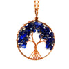 Image of Tree of life - Gemstone Chakra Jewelry Dark Blue Bronze Chain Necklace