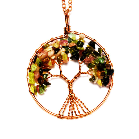 Tree of life - Gemstone Chakra Jewelry Pink Colorful Bronze Chain Necklace