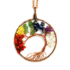 Luvalti Tree of life - Gemstone Chakra Jewelry Colorful Bronze Chain Necklace