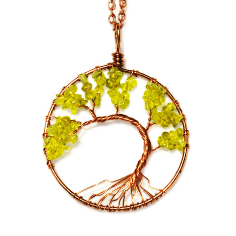 Tree of life - Gemstone Chakra Jewelry Green Yellow Bronze Chain Necklace