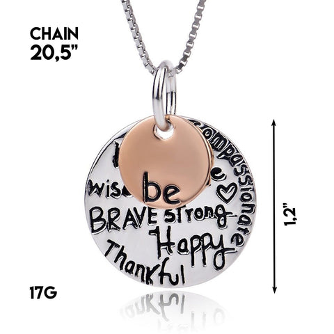 Be Brave Strong Happy Thankful Pendant Necklace