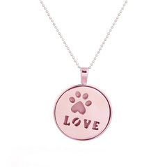 Pink LOVE Pendant Necklace - Glow in Dark - Paw Print Jewelry