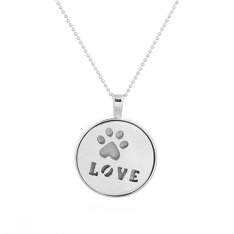 Silver LOVE Pendant Necklace - Glow in Dark - Paw Print Jewelry