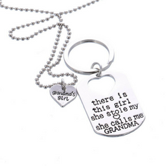 Grandma's Girl Necklace & Keychain Set - Grandma and Granddaughter Necklace Set