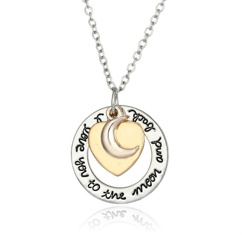 I love you to the moon and back Necklace - Heart Pendant Necklace - Jewelry Gift for Loved Ones