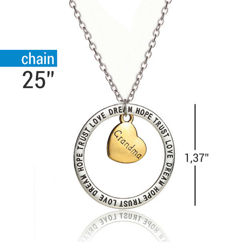 Grandma Dream Hope Love Trust Pendant Necklace