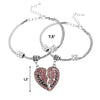Image of Mother & Daughter Heart Set of 2 Pink Bracelets