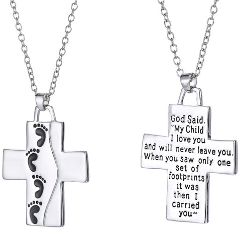 Luvalti Reversible Cross Pendant Necklace - Christian Jewelry for Men and Women