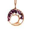 Image of Tree of life - Gemstone Chakra Jewelry Purple Bronze Chain Necklace