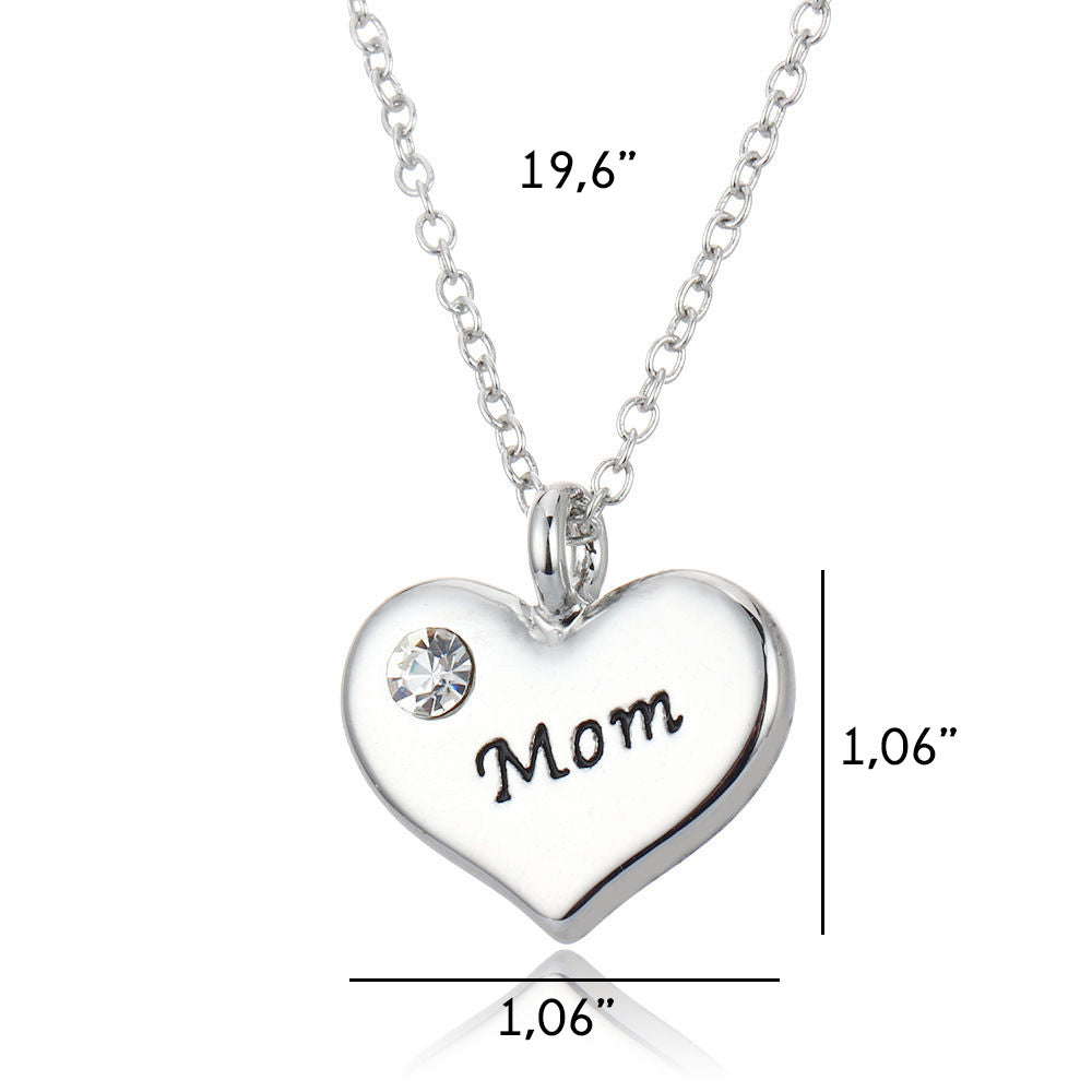 Mom heart pendant necklace luvalti mom heart pendant necklace mozeypictures Images