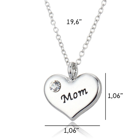 """Mom"" Heart Pendant Necklace"