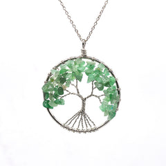 Luvalti Tree of life - Gemstone Chakra Jewelry Green Silver Chain Necklace