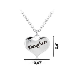 Daughter Heart Pendant Necklace - Mother Daughter Necklace