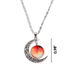 Galaxy & Crescent Cosmic Orange Moon Necklace
