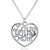 Image of Love You Mom Heart Pendant Necklace - Personalized Jewelry Gift