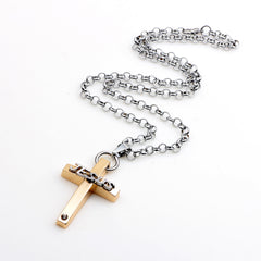 Luvalti Cross Jesus Pendant Necklace - Christian Jewelry for Men and Women