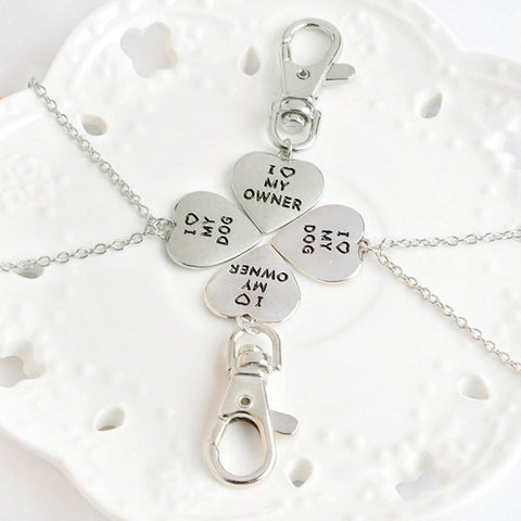Love my Dog/Owner Necklace & Keychain Set Paw Print Jewelry