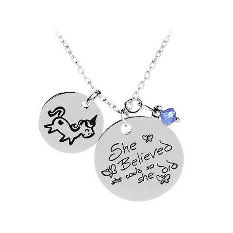 She Believed She Could So She Did - Round Pendant Necklace