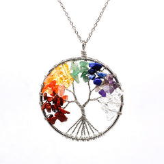 Luvalti Tree of life - Gemstone Chakra Jewelry Colorful Silver Chain Necklace