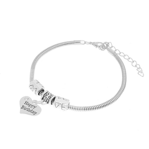 Happy Birthday Heart Charm Bracelet