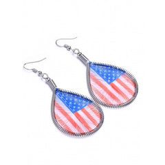 American USA Flag - Patriotic Woven Thread Teardrop Earrings - Jewelry Gift