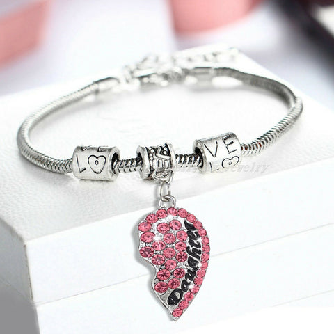 Mother & Daughter Heart Set of 2 Pink Bracelets