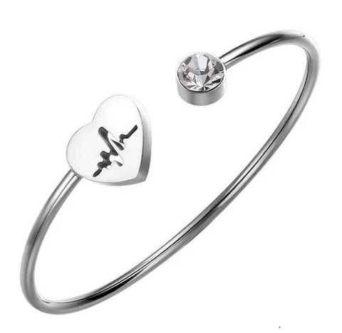 Heartbeat Bangle Bracelet - Stainless Steel, Adjustable - Great Gift Idea for Nurses