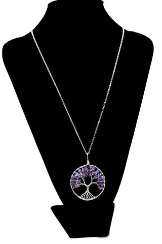 Luvalti Tree of life - Gemstone Chakra Jewelry Purple Silver Chain Necklace